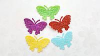 Бабочки с глиттером тканевые заготовки Ассорти 4 см 5 шт/уп