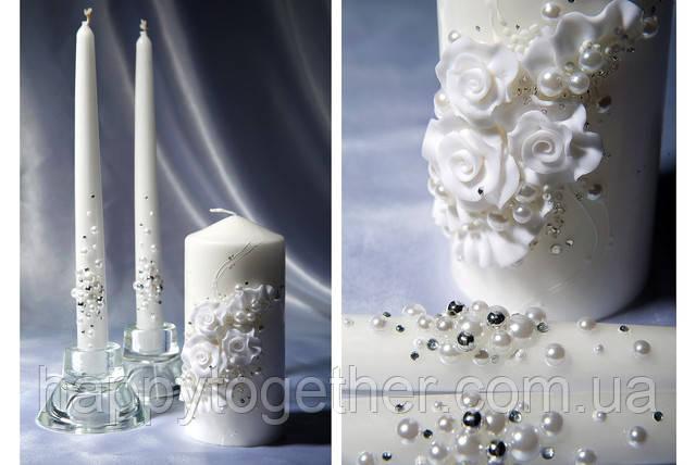 """Свадебные свечи """"Белые розы"""""""