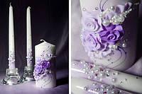 """Свадебные свечи """"Фиолетовые розы"""""""
