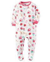 Детская новогодняя пижамка  Картерс для девочки с закрытыми стопами