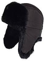Мужская шапка-ушанка из меха кролика черного цвета.