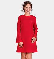 16113 Платье красное трапеция рукав длинный расширяющийся к низу