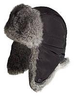 Мужская шапка ушанка из меха кролика натуральный серый.