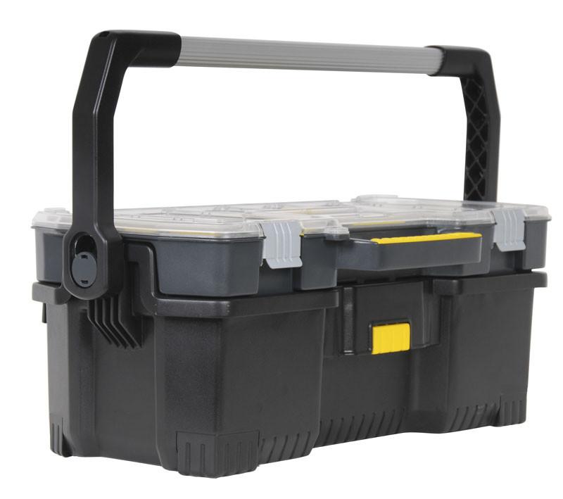 """Ящик инструментальный 67x32x25см съемный кейс, прозрачню крышка""""Stanley"""" объем 53 л, нагрузка 18 кг"""