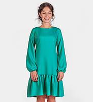 Платье зеленое мятное с воланом рукав длинный 16021
