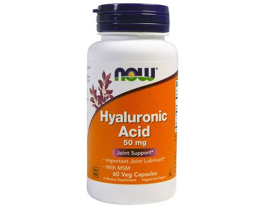 Гиалуроновая кислота NOW Foods Hyaluronic Acid 50 mg 60 капсул, фото 2
