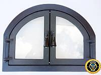 Печная дверца со стеклом Двухдверная, чугунные дверки для печи и барбекю