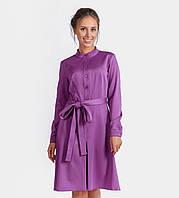 16081 Платье рубашка фуксия юбка трапеция со складкой впереди с поясом