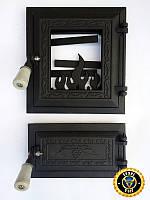 Печная дверца со стеклом Калина Черная, чугунные дверки для печи и барбекю