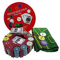 Покерный набор на 240 фишек с номиналом в круглой металлической упаковке N°240T