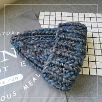 Женская шапка крупной вязки из шерсти мериноса серая, фото 1