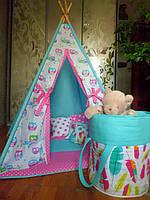 """Детский игровой домик, вигвам, палатка, шатер, шалаш """"Совушки на голубой веточке"""""""