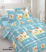 Комплект постельного белья TM Nostra Бязь Голд аква-оранжевый Тюльпаны Двуспальный евро комплект