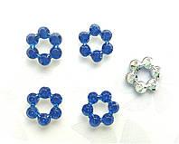 Цветочки акриловые кабошоны Синие 12 мм 100 шт/уп