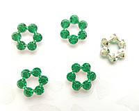 Цветочки акриловые кабошоны Зеленые 12 мм 100 шт/уп