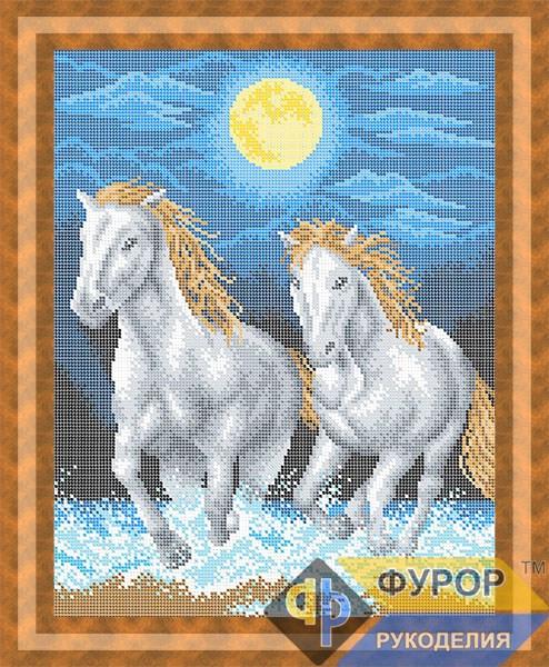 Схема для вышивки бисером картины Лошади бегущие по морю (ЖБп3-084-1)