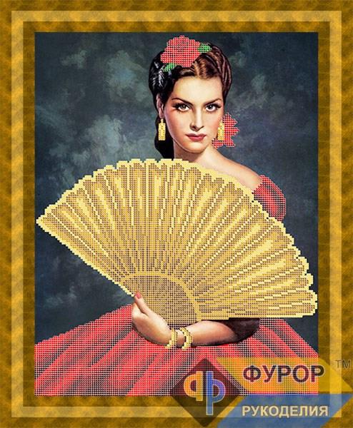 Схема для вышивки бисером картины Девушка с веером (ЛБч3-038-1)