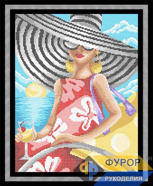 Схема для вышивки бисером картины Дама с бокалом на берегу моря (ЛБп3-039)