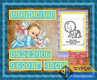 Схема для вышивки бисером - Метрика для мальчика, Арт. ЛБч3-42