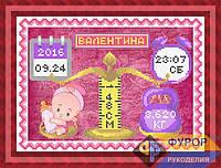 Схема для частичной вышивки бисером - Метрика для ребенка девочки, Арт. ЛБч4-12