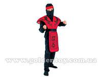 """Карнавальный костюм """"Красный ниндзя"""" S (110-140см), рубашка/штаны/капюшон/повязка/броня"""