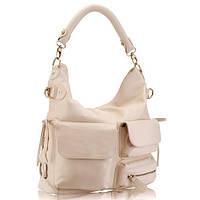 Borsa funzionale (BEIGE) - Бежевая функциональная кожаная сумка с тремя лицевыми карманами разного размера.