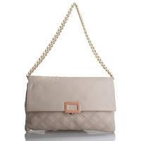Elegante Borsa Beige - Бежевая элегантная кожаная сумочка на золотистой цепочке-ручке.