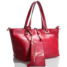 Red Signore borsa - Краснаякожаная сумка скошельком.