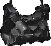 Borsa con Cuori - Черная кожаная сумка с сердечками.