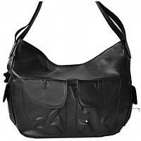 Tasche Ovali - Черная кожаная сумка с овальными карманами.