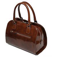 Petto crosolare - Женская коричневая сумка-сундучок из отполированной итальянской кожи.