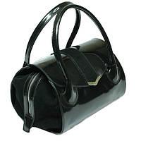 Lingua - Женская кожаная сумочка-лаковый сундук с замшевой застежкой.