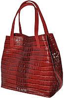 Cara Borsa Rosso - Красная большая кожаная сумка под крокодил 2015.