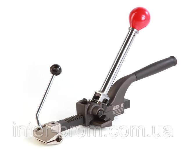 Инструмент для натяжения и резки стальной ленты с храповым механизмом.
