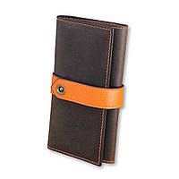 Portmone nastro - Коричневое портмоне из кожи с оранжевой застежкой.