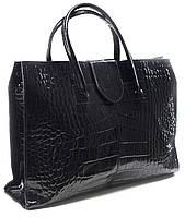 """Borsa Grazia  - Лаковая черная сумка """"под крокодил"""""""" для деловых женщин. Производства Италии."""""""
