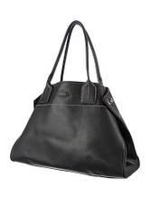 TOD'S - Черная кожаная сумка с отстрочкой белыми нитками.