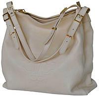 Tina - Кремовая кожаная сумка с ремешками-ручками.