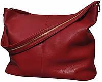 Borsa Papavero - Бордово-красная большая классическая сумка из натуральной кожи
