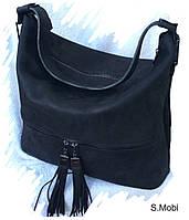 S.Mobi Iva - Чёрная женская сумка из толстой гладкой кожи