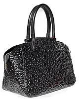 Pioggia Nera - Чёрная лакированная сумка с выпуклым рисунком и широким дном