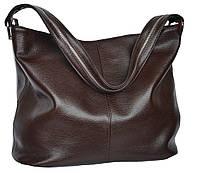 Borsa Cannella - Шоколадная большая классическая сумка из натуральной кожи