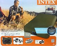 Туристический односпальный надувной матрас Intex 68727 Super-Tough Airbed + встроенный аккумуляторный насос