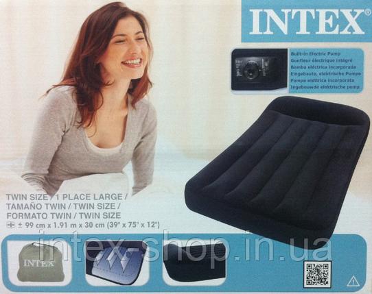 Надувной матрас Intex 66779 интекс(191*99*30 см) встроенный электронасос, фото 2
