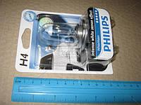 Лампа накаливания H4 WhiteVision 12V, 60/55W, P43t-38, (+60) (4300K) 1 штуки blister (Производство Philips)
