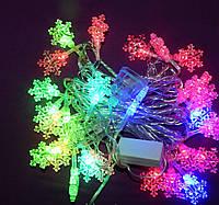 Гирлянда 40 LED 3д снежинки
