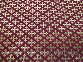 Тканина церковна Хрест Поліставрій бордо 1,6м