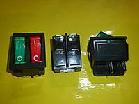 Кнопка включения-выключения 2-х клавишная 4-х клемная без подсветки 250 В. 15 А