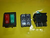 Кнопка включения-выключения 2-х клавишная 6-ти клемная с подсветкой 250 В. 15 А