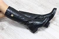 Зимние высокие сапоги с молнией без каблука